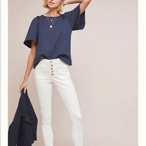 Anthropologie Reminton Top Navy M NWT 🧵